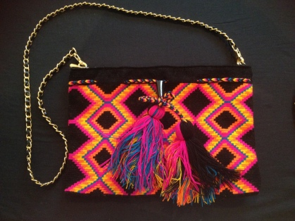 £160 was £200 | Clutch with leather, linen and shoulder strap