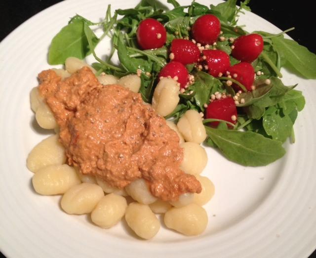 Vegan Raw Bolognese on Gnocchi &Salad
